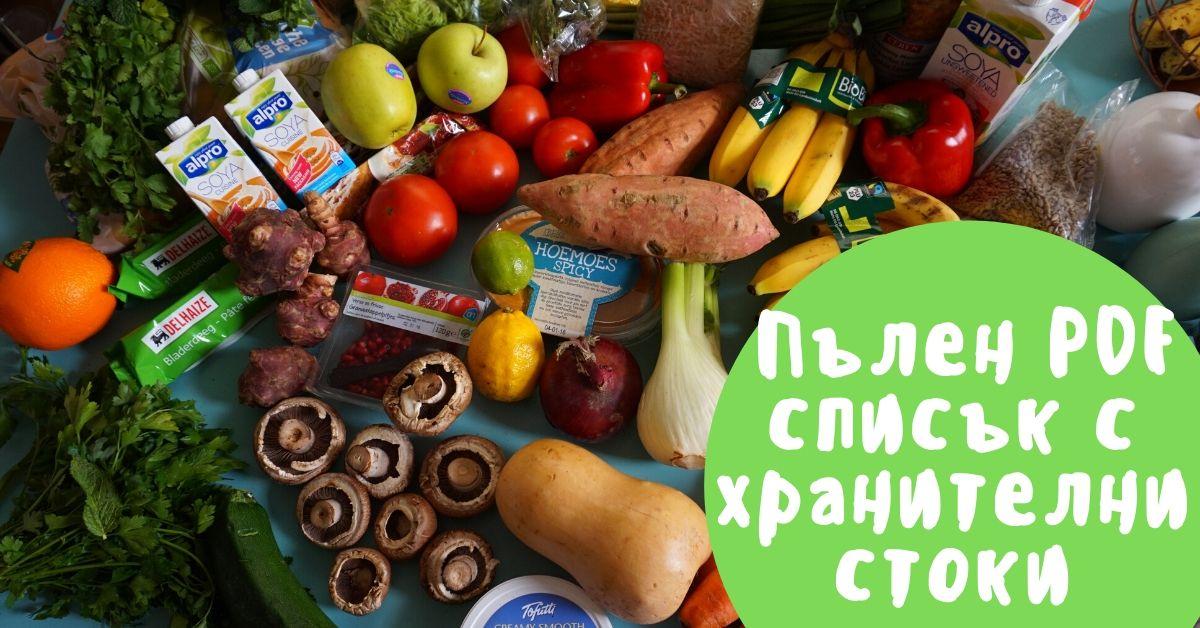 пълен списък с хранителни стоки